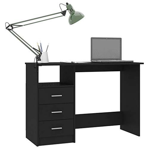 Mueble mesa de trabajo de madera 110 x 50 x 76 cm escritorio ordenador con 3 cajones y un compartimento abierto, mesa porta PC de oficina casa - negro