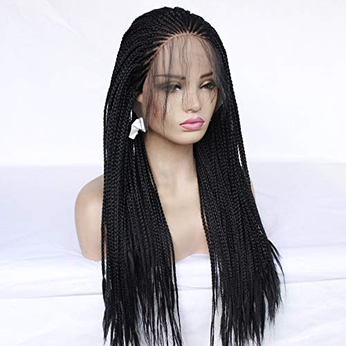 Pelucas Europe And The United States Ex-Lace Wig Half-Hand Hook Three Strands Of Braids Natural Black Unmarked Wholehead Hair Wig Head Set Female