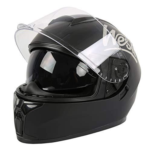 Westt Storm X Integralhelm - Motorradhelm Doppelvisier in Schwarzmatte Roller Motorrad ECE