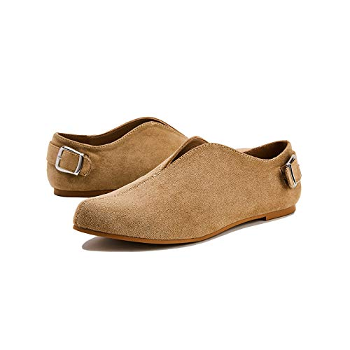 TINSTREE Women Pointed Toe Flats Comfy Suede Flat Shoes Solid Classic Soft Ballet Flat Slip-On Loafer Casual Daily Wear Khaki