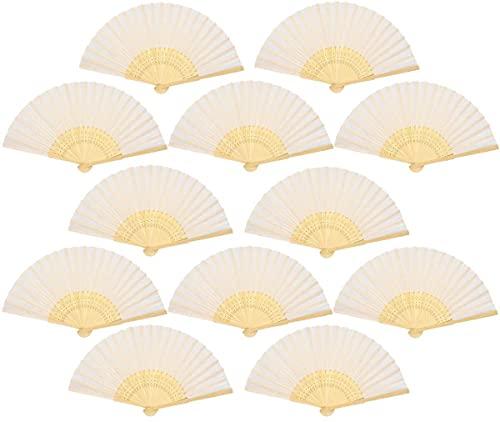 Ventaglio pieghevole a mano in tessuto, per fai da te, in bambù e carta, regalo ricordo per la Prima Comunione, per gli ospiti, 12 pezzi, colore: bianco