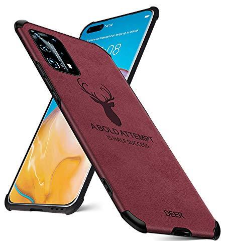 EUDTH Huawei P40 Pro+ Hülle, Superdünne Matte Leder Rückseite Handyhülle [Air Cushion] Cover Silikon Weiche Kante Fallschutz Stoßfeste Ganzkörper Schutzhülle für Huawei P40 Pro+/ P40 Pro Plus - Rot