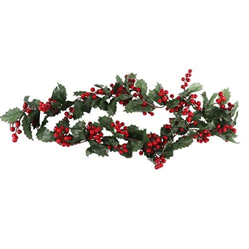 TOYANDONA Weihnachtsstechpalme Beeren Girlande Weihnachtsstechpalme Blätter Rebe Weihnachtsbeerenkranz Künstliche Blume Rattan für Ferienhaus Kamin Wanddekoration