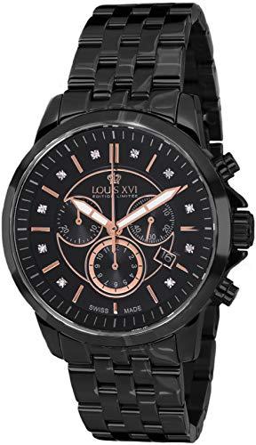 LOUIS XVI herenhorloge Aramis stalen band zwart rose goud echte diamanten chronograaf analoog kwarts roestvrij staal 881
