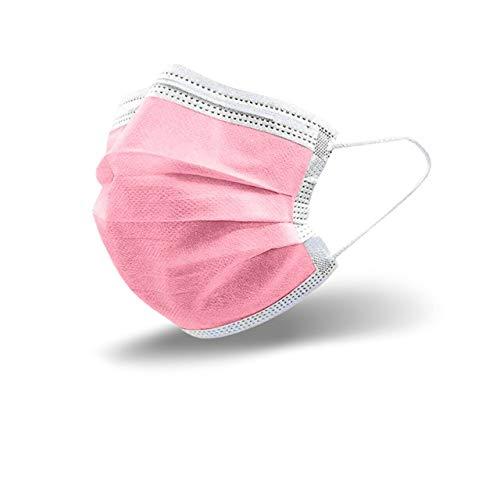 25 Stück Rosa Einweg-Gesichtsmasken Einweg Maske Mund und Nasenschutz Mundbedeckung Behelfsmaske Mundschutz atmungsaktiv Staubmaske Dehnbare elastische Ohrschlaufen Pink Maske