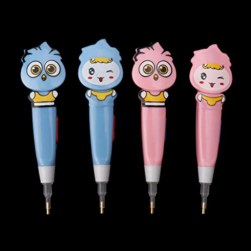 ZZALLL 4Pcs 5D Diamond Painting Cross Stitch Embroidery Point Drill Pen With Light Tool