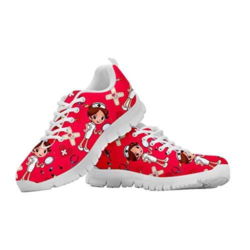 Chaqlin - Scarpe da corsa unisex, per adulti, casual, per attività all'aria aperta, palestra, scarpe da ginnastica in rete, da donna e da uomo, (Donna Infermiera Rosso), 46 EU