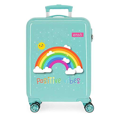Enso Arcoiris Positive Vives Blue Cabin Suitcase 38 x 55 x 20 cm Rigid ABS Combination Lock 35 Litre 2.3 kg 4 Wheels Hand Luggage