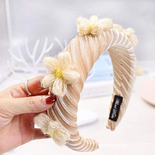 Empty Mode féminine Noeud antidérapant au Milieu Bandeau éponge à Fleurs Bandes de Cheveux Accessoires de Cheveux-Beige