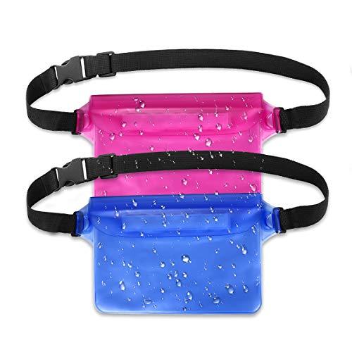 Bolsa Impermeable con Correa de Cintura Pantalla Sensible Touchable Bolso Seco para Objetos de Valor Teléfono para Natación Snorkel Canotaje Pesca Kayak, Pack de 2