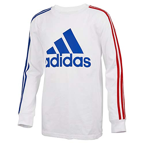 adidas Boys' Long Sleeve Cotton Jersey T-Shirt Tee, BoS Stripe White, Large