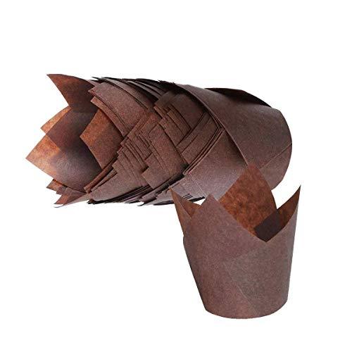 Baking Cups, 50Pcs Tulip Style Baking Cups, Dark Brown