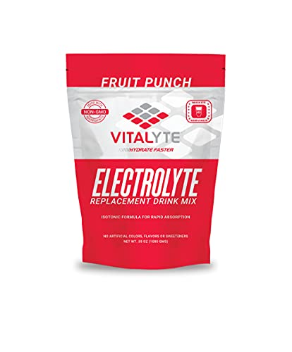 electrolyte replacements Vitalyte Natural Electrolyte Powder Drink Mix, Gluten Free, 40 2 Cup Servings Per Container (FRUITPUNCH-Pouch)