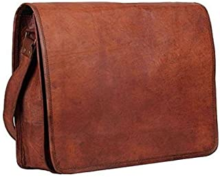 TUZECH Pure Rustic Leather Vintage Genuine Leather Bag Cross-Body Messenger Bag Satchel Bag (Fits Laptop/iPad up to 13.3 Inches) (with Extra Padding)