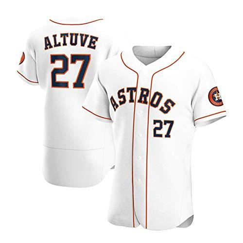 Astros # 27 Altuve Camiseta de béisbol para Hombre, Manga Corta, Uniforme del Equipo de Juego, botón Superior, Sudadera para fanáticos, Camiseta de béisbol Personalizada (S-XXXL)-EliteWhite27-Men