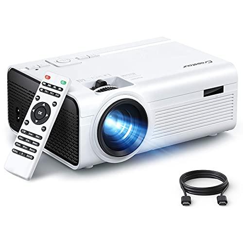 Beamer, Crosstour Tragbarer Mini Beamer, Unterstützung 1080P mit 55000 Stunden LED Beamer Kompatibel mit 4K-TV-Stick, HDMI, SD, AV, VGA, USB, PS4, X-Box, iOS / Android-Smartphone Projektor