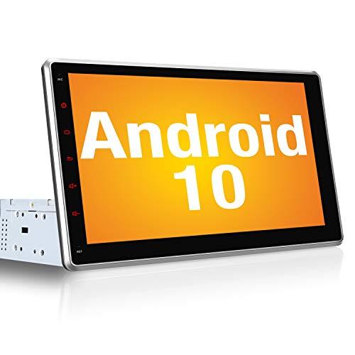 PUMPKIN Android 10 Autoradio Moniceiver mit Navi 10,1 Zoll IPS Bildschirm Unterstützt Bluetooth DAB + USB Android Auto WiFi 4G 1 Din 2 Din
