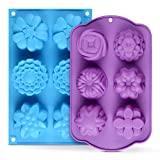 Silicone Soap Molds - Flower Assorted Silicone Molds for Ice Cube Tray, Handmade Jelly, Soap, Pudding, Muffin, Cupcake