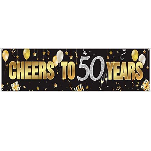 Alles Gute zum Geburtstag Banner Zeichen Gold Glitzer Party Dekoration Versorgung Jahrestags Feier Hintergrund (Prost zum 50. Geburtstag)