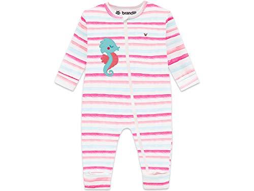Macacão Bebê Menina com Zíper e Pé Reversível Brandili Listrado Rosa Cavalo Marinho (M (6-9 meses / 67 cm))
