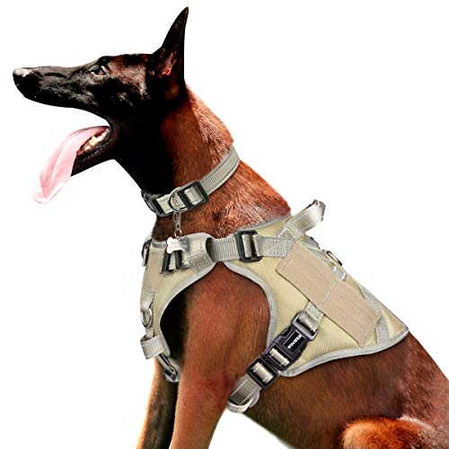 WINSEE Tactical Dog Harness for Large Dogs, Reflective Working Dog MOLLE Vest with Handle and Loop Panels, No Pull Front Clip Adjustable Training Pet Harness for Hiking Hunting