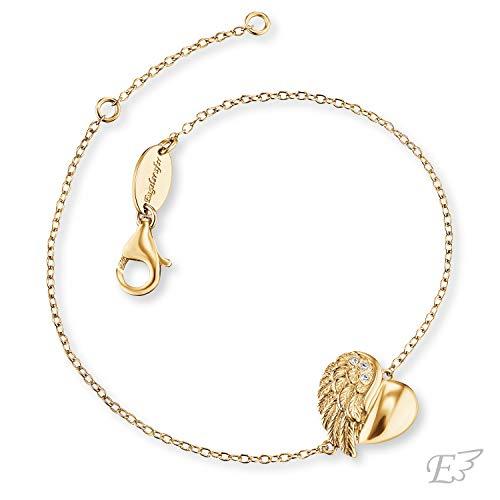 Engelsrufer - Damen & Mädchen Armband Herzflügel aus 925 Sterlingsilber, gelb vergoldet, Schutzengel Armbänder fein mit Zirkonia Edelstein