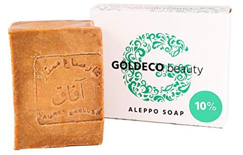 GOLDECO Original Aleppo Seife 90% Olivenöl und 10% Lorbeeröl, traditionelle Handarbeit, vegan, 200g