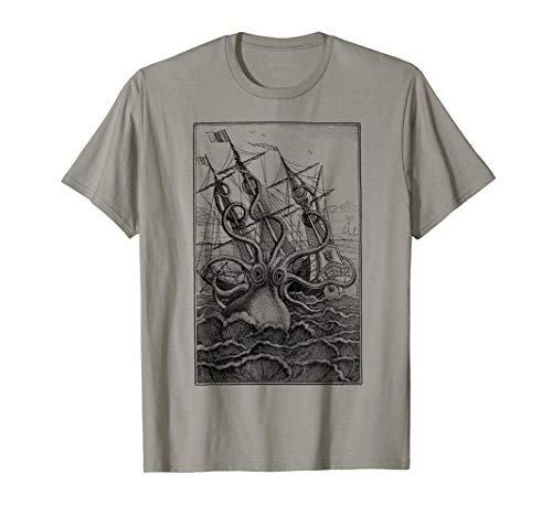 Pulpo gigante Barco pirata Calamar de vela Kraken vintage Camiseta