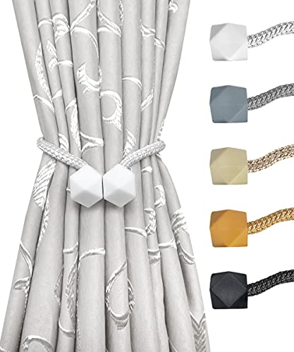 Bereket Magnetic Curtain Tiebacks- 2 pcs White European Style Convenient Drape Tie Backs Decorative Handmade Rope Holdback Strong Magnetic Holder for Small, Thin or Sheer Window Treatment (White)