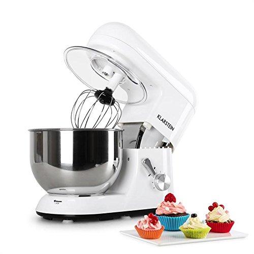 Klarstein Bella Blanco - Robot de cocina, Batidora, Amasadora, 1200 W, 5,2 litros, 1,6 PS, Batido planetario, 6 niveles de velocidad, Recipiente de acero inoxidable, Blanco