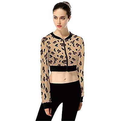 LeopardExotic Leopard FashionWomen's Long Sleeve Zipper Up Solid Crop Top Jacket for Sports,M from C COABALLA