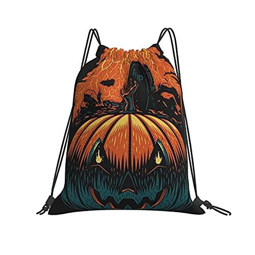 Pumpkin Halloween Mochila con cordón original bolsas para gimnasio, senderismo, viajes, playa