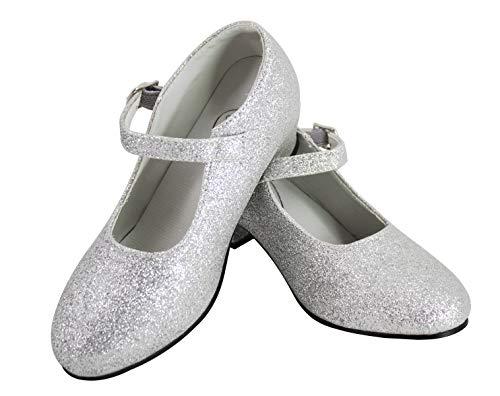 Gojoy shop- Zapato con Tacón de Danza Baile Flamenco o Sevillanas para Niña y Mujer, 5 Colores Disponibles (P- Silver, 35)