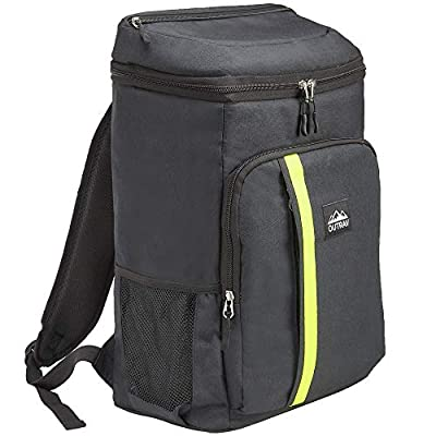 Outrav Camping Backpack Cooler – Fully Insulated Cooling Bag with Zippered Compartments, Mesh Pockets and Bottle Opener – 24 Can Capacity