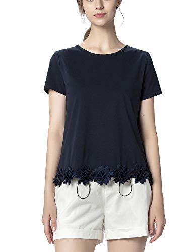 APART Damen Jersey Shirt mit 3-D-Blüten am Saum, Nachtblau, 38