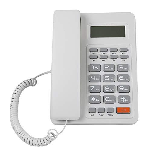 Fockety Teléfono residencial de Sistema Dual DTMF/FSK de Escritorio, teléfonos fijos de identificación automática con función de Flash, Hotel residencial Fijo para Sala de Oficina