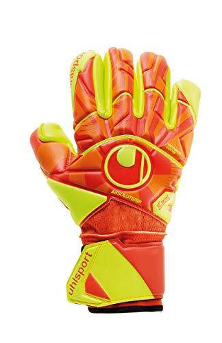 Luva De Goleiro Uhlsport Profissional Dynamic Impulse Absolutgip Finger Surr, Tam. 9, Laranja e Amarelo