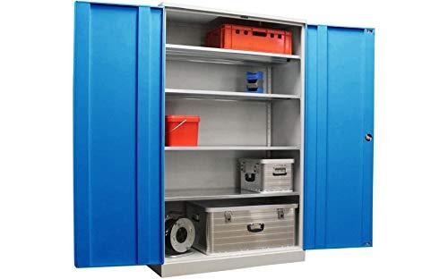 Werkstattschrank Koloss Schwerlastschrank 195x120x60cm GRAU/BLAU - KOMPLETT MONTIERT - vollverzinkte Fachböden