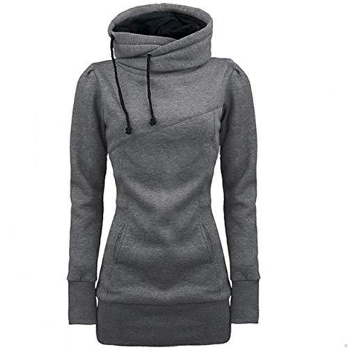 CHIYEEE Damen Hoodie Sweatshirt Kapuzenpullover mit Hohem Kragen Feste Sweatshirt Frauen Pullover Tops Slim Fit PulloverKleid Grau L