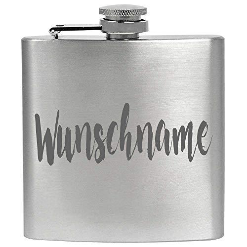 ZORR Flachmann mit Gravur Name Personalisiert Gravieren Wunschname Rostfrei, Edelstahl Silber