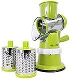 Smart Drum Shopper – Trancheuse Slicer Turbo à légumes Manuelle avec 3 Lames en Acier Inoxydable - Base équipée d'Une Ventouse – Poussoir de sécurité - Coloris Vert