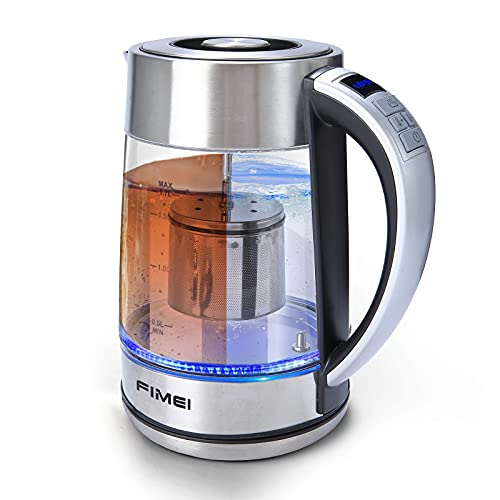FIMEI Electric Tea Kettle with Tea Infuser, 1.7L Tea Maker with 1500W Fast Heating Variable Temperature Control, Electric Water Kettle with LED Indicator Light, Keep Warm & Boil-Dry Protection