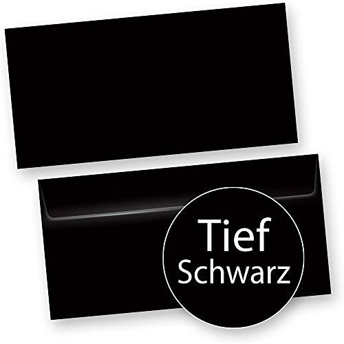 PREMIUM Briefumschläge DIN lang Exklusiv tiefes Schwarz - 50 Stück - inkl. Silber-Lackstift