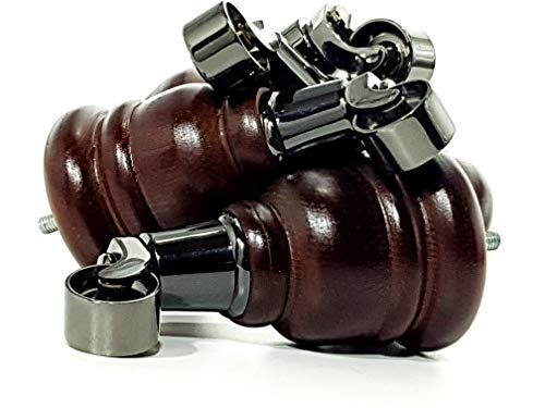 4 patas de madera de caoba envejecida de 155 mm de alto para muebles con ruedas de repuesto de cromo negro para sillas, sofás M8 (8 mm) TSP2007