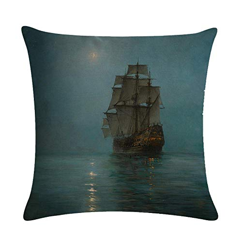 NIBYGSIUYGB Velero en el mar Funda de cojín Estilo de Pintura al óleo Vintage Funda de Almohada Decorativa de Lino Sofá-45 × 45cm