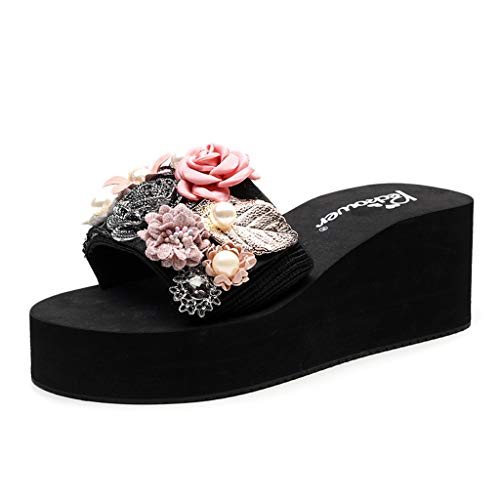 Deloito Sommer Pantoletten Damen Strand Schuhe Keile Hausschuhe Böhmischer Stil Plattform Prinzessin Sandalen Mädchen Perle Glitzer Flip Flops Plateau Schlappen (41 EU, Rosa-05)
