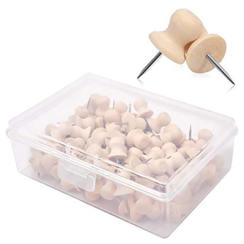 eZAKKA Wooden Push Pins, 100 Pieces Wood Thumb Tacks Decorative for Cork Boards Map Photos Calendar with Box, Cap Shaped