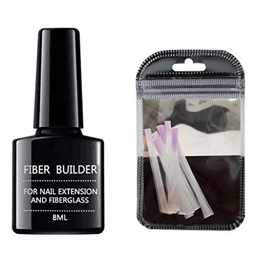Kit de gel d'extension en fibre de verre - Ongles en soie de fibre de verre Wrap Care pour Gel Extension Tools Nail Art
