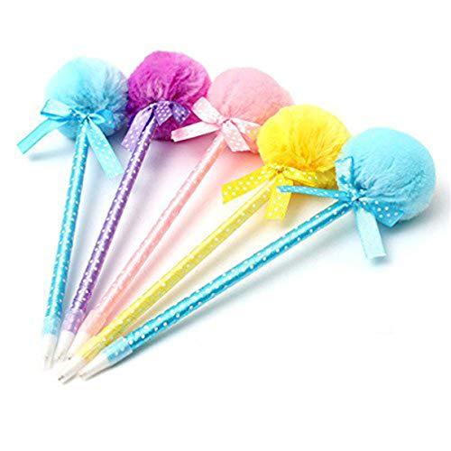 NUOBESTY 5 Piezas Bolígrafos con Pompones Bolígrafos Rodantes Bolígrafos Bolígrafos Gel Pluma para Dibujar Pintura Escritura Firma (Color Aleatorio)