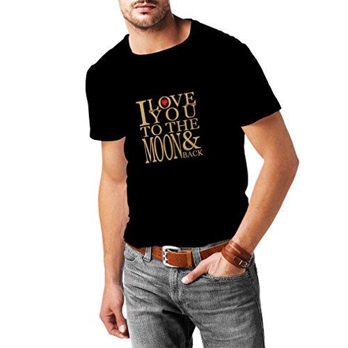 lepni.me Camisetas Hombre Te Quiero a la Luna y de Vuelta, Impresionante Regalo de Amor de San Valentín (XXX-Large Negro Oro)